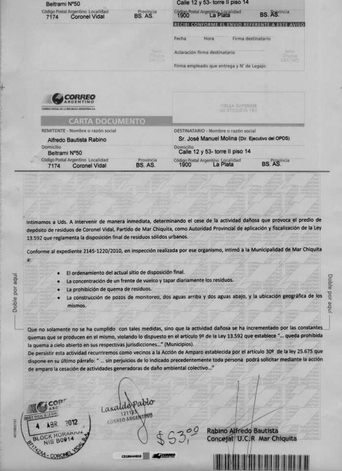 Modelo carta documento denuncia de venta automotor